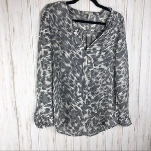 Joie gray and white leopard silk blouse